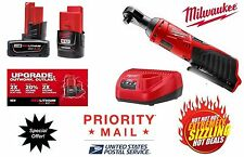 MILWAUKEE M12 LITHIUM-ION 1/4 RATCHET TOOL 2456-20,ONE 2.0 & ONE 4.0 BAT,CHARGER