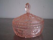 BOITE VERRE MOULE PRESSE ROSE ART DECO VERRERIE GLASS 1930