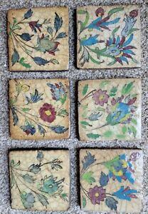 Set 6 Antique Persian Qajar Iznik Glazed Pottery Flower Floral Tile 19th century