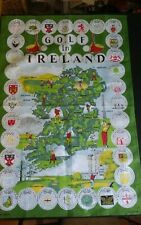 Vtg linen cotton tea towel Poplar Golf in Ireland map of clubs emblems NICE