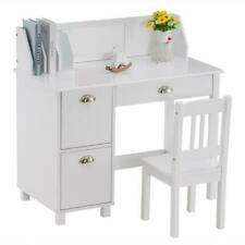Home Student Study Desk Table And Chair for Child With Drawers Book Shelf White