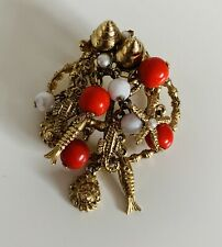 Vintage Goldtone Sealife Brooch with Coral/White Glass Drops Shells Fish Starfis