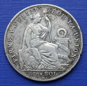 Peru 1/5 Sol Coin, 1908 Libertad, 900 Silver 5g, 23mm~KM#205.2~VF~X269