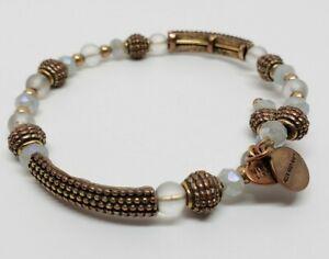 Alex & Ani Vintage 66 Copper Tone & Moonglow Faceted Crystal Wrap Bracelet