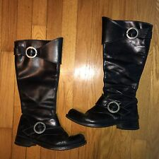 John Fluevog woman boots tall riding equestrian Pirate Steampunk black leather 7