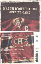 2005 Montreal Canadiens vs. Ottawa Senators Opening Night Used Torn Ticket