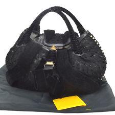 Auth FENDI SPY Bag Hand Bag Marked with Beads & Pearls Black Velvet NR09663