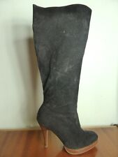 Black Faux Suede Knee high Stiletto Stacked heel boots Nina Boho sz 6.5