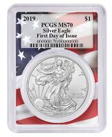 2019 1oz Silver Eagle PCGS MS70 First Day Issue Flag Frame