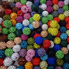 10X WHOLESALE 10mm Crystal Clay Disco Ball Shamballa Beads Top Quality UK Seller