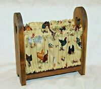 """Vintage Chicken Rooster 8""""x8"""" Napkin Holder Fabric Wooden Farm Country"""