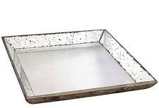 """Wood Mirrored Tray NEW 24"""" X 24"""" In Box Weathered Reclaimed Vintage Look Pick U"""