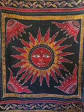 Tenture Soleil Batik Noir  - Batik Sun Bedsheet (150 x 220 CM)