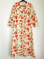 Women's Vintage 60s Raymodes Cream Floral House Coat Robe Bathrobe Medium USA