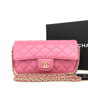 New 2021 CHANEL Pink Quilted CC Lambskin Chain Mini Shoulder Bag/91556