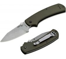 """Boker Plus CLB XS 3"""" Stonewash Gray PVD 440C S. Steel Blade & Olive G10 Handle"""