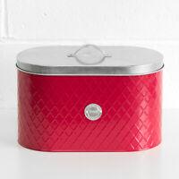 Embossed Red Enamel Silver Lid Vintage Bread Bin Kitchen Storage Crock Container