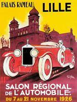 Exhibition Motor Show Lille France Car Vintage Repro Canvas Art Print