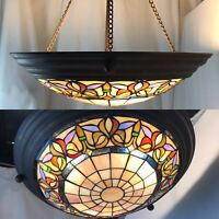 Vtg Stained Glass Inverted Pendant Hanging Lamp Chandelier Light Victorian Deco