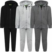 Kids Basic 2-Piece Fleece Jogging Bottoms Hooded Top Plain Tracksuit 3-16 Years