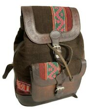 Authentic Small Hand Tooled Brown Cotton/Wool Tapestry and Leather Trim Backpack