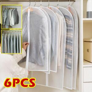 6 Pcs Set Clear Polythene Garment Covers Suit Dress Dust Protector Travel Bags