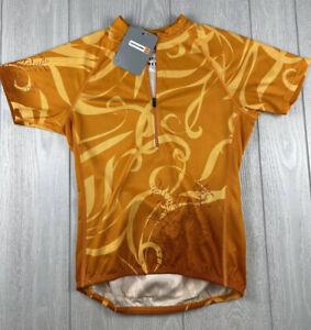 CANNONDALE Womens Orange Yellow Botanic Cycling Jersey NEW msrp $70 Size P XS