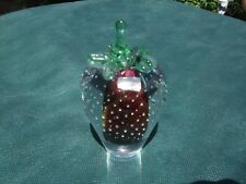 CRYSTAL Strawberry Glass Paperweight handmade in Poland