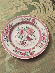 Assiette porcelaine Compagnie des Indes Chine 18e siècle famille rose restaurée