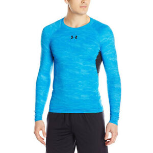 Under Armour Mens Compression Top HeatGear Blue Long Sleeved Printed Sports S