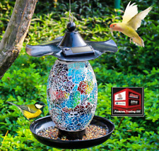 New listing New, Viewsun Solar Bird Feeder for Outside Hanging Outdoor, Mosaic Decor,