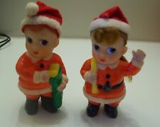 "Vintage Boy & Girl Dressed as Santa Rubber Squeak Toys, 4.5"" Made in Japan, Vg+"