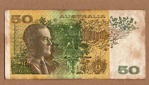 AUSTRALIA BANKNOTE, 50 DOLLAR 1980s VF STAINS