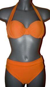 BÜGEL-BIKINI mandarine-orange NECKHOLDER+ BALCONETTE 40 42 44 46  CUP B NEU