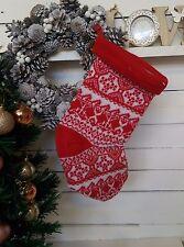 Christmas stocking santa tricot chaussette grand père décoration arbre traditionnel