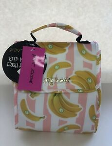 •NWT• Betsey Johnson Insulated Lunch Tote/Bag •Stripe Banana Print•