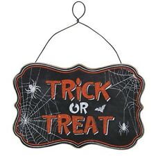 "Halloween Chalkboard Style ""Trick or Treat"" Hanging Sign - Spiders & Bat"