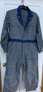 Vintage Herrinbone Denim Blue Coveralls  RARE .  Union Made