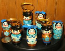 Christmas Tree Ornaments GOLD BLUE Russian HAND PAINTED Boys & Girls DOLLS SET 7