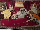 Vintage Tapestry Jack the Ripper Dogs Playing Pool Red Felt Original Circa