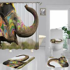 Makeup Elephant Shower Curtain Bath Mat Toilet Cover Rug Animal Bathroom Decor