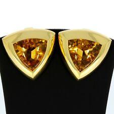 Citrin Ohrclips aus 750er Gelbgold schlicht groß für Damen Wert 1.340,- Euro