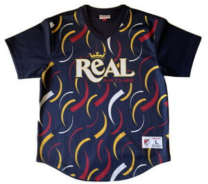 MITCHELL & NESS REAL SALT LAKE WARMUP JERSEY L $130 RETAIL DS BLUE MLS SOCCER