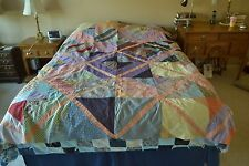 "Vintage Crazy-Quilt Top, Hand-Embroidered, Machine Pieced, 75"" x 86"", M81"