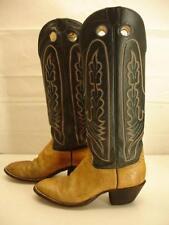 Mens 8 D M Hondo High Top Cut Boots Buckaroo Tan Leather Navy Blue Knee High Vtg