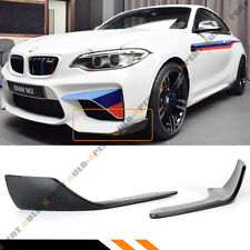 FOR 2016-17 BMW F87 M2 PERFORMANCE STYLE CARBON FIBER FRONT BUMPER SPLITTERS 2PC