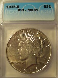 "1935-S PEACE SILVER DOLLAR ICG MS61 ""KEY DATE"""