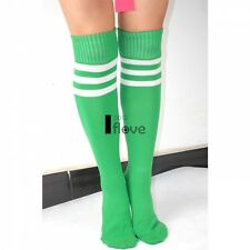 Girls Football Basketball Baseball Tennis Gym Sport Knee High Striped Socks ILOE Red White