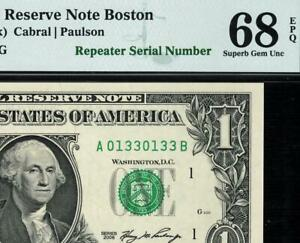 2006 $1 Boston *REPEATER Federal Reserve FRN 1932-A PMG 68 EPQ ((TOP POP 2/0))