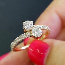1 Carat Total Forever Us Round Natural Diamond Two Stone Ring 14K Yellow Gold